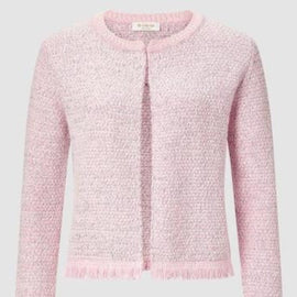 RICH & ROYAL CARDIGAN WITH FRINGES, SPRING PINK