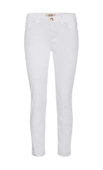 MOS MOSH SUMNER DECOR PANT JEAN WITH EMBROIDERED GEOMETRIC FEATURE ON REAR POCKETS, WHITE