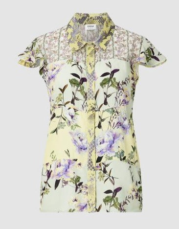 RICH & ROYAL PRINTED BLOUSE WITH CAP SLEEVES, LEMON, LILAC & MINT