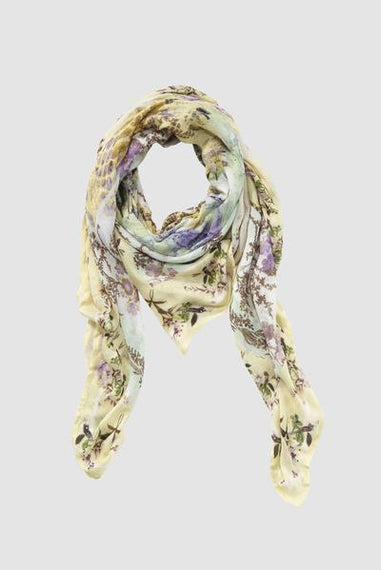 RICH & ROYAL SCARF, MIX OF PRINTS, FLORAL, LEMON AND LILAC