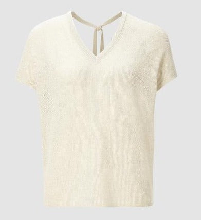 RICH & ROYAL CREW KNIT V-NECK TOP WITH TIE BACK FEATURE, PEARL WHITE