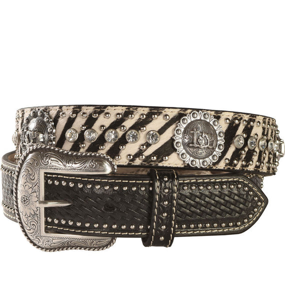 NOCONA ZEBRA PRINT HAIR ON HIDE PRAYER CONCHO BELT