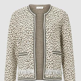 RICH & ROYAL SWEAT JACKET LEOPARD PRINT WITH TAPE, PEARL WHITE