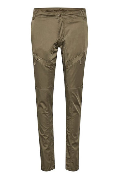 CULTURE DENMARK LONG MALOU PANTS WITH STUDS, KHAKI