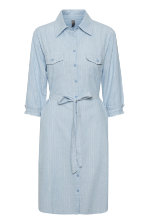 CULTURE DENMARK NEVA T-SHIRT STYLE DRESS METALLIC STRIPED, POWDER BLUE