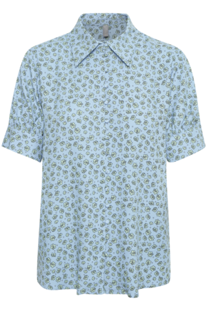CULTURE DENMARK YASMIN FLORAL BLOUSE SHORT PUFF SLEEVE, BLUE