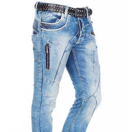 CIPO & BAXX MENS JEANS WITH ZIP FEATURES, BLUE WASH