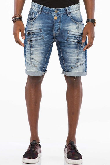 CIPO & BAXX MENS DENIM SHORTS WITH ZIP FEATURE, BLUE