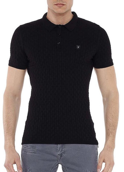 CIPO & BAXX MENS POLO STYLE KNITWEAR STYLE T-SHIRT, BLACK