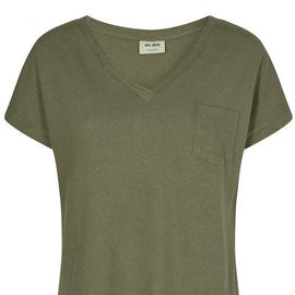 MOS MOSH MAYA V-NECK TEE WITH POCKET, OIL GREEN