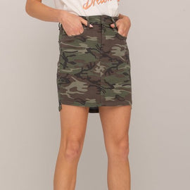 MISS ME SKIRT CAMO, MID RISE, OLIVE GREEN MIX