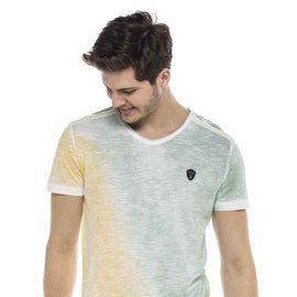 CIPO & BAXX MENS V NECK T SHIRT, GREEN & YELLOW