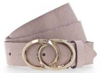B.BELT CO LOLA GOLD FULLGRAIN LEATHER BELT, 30MM, ROUND BUCKLE, PINK