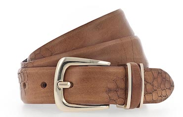 B.BELT CO CHARLISA GOLD, 30MM BOSSED FULLGRAIN LEATHER BELT, BROWN
