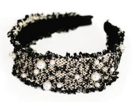 SARAH J CURTIS TWEED ALICE HEAD BAND WITH PEARL DETAILS