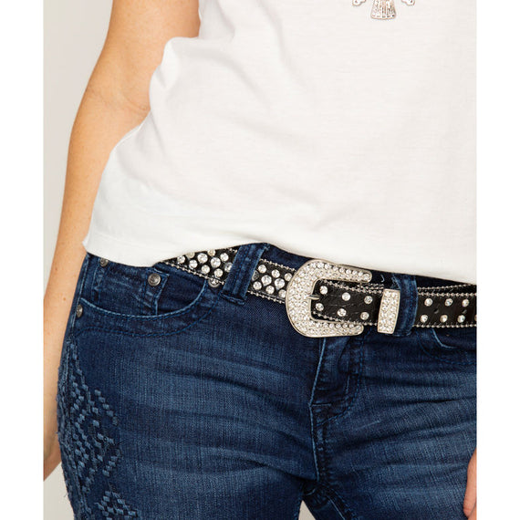 SHYANNE ALLIGATOR PRINT LEATHER RHINESTONE SKINNY BELT - BLACK