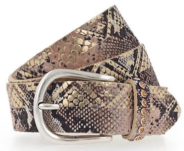 B.BELT CO JANET GOLD FULLGRAIN LEATHER BELT, SNAKE PRINT, METALLIC COATING, SWAROVSKI CRYSTAL ACCENT & POLISHED SILVER BUCKLE