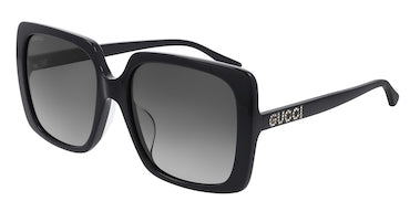 GUCCI SUNGLASSES, BLACK SQUARE, CRYSTAL GUCCI TEXT LOGO ON ARMS, BLACK