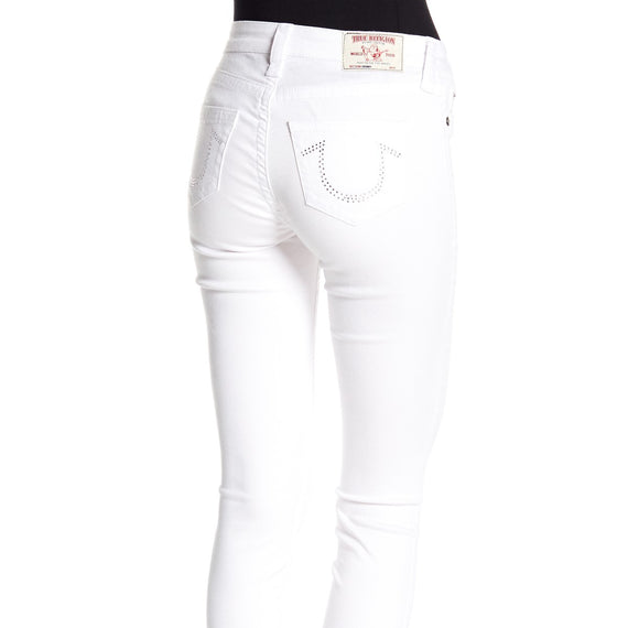 True Religion - USA Curvy Skinny Jeans with Crystals, Optic White