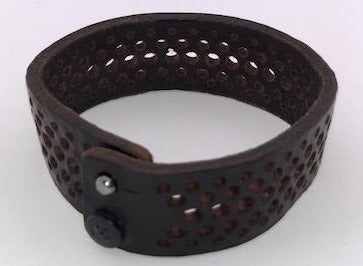 B.BELT CO GERMANY, JEFF LEATHER 25MM BRACELET WITH PERFORATION