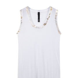 white and gold coloured singlet top by 10Days Amsterdam on a white background