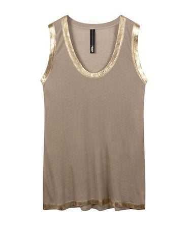 safari and gold coloured singlet top by 10Days Amsterdam