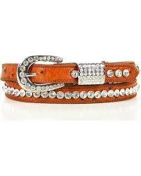 SHY WOMEN'S SKINNY LEATHER RHINESTONE BELT-BROWN