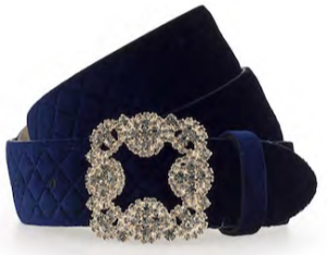 B.BELT CO GERMANY SEFAYA BOSSED 35MM VELVET BELT, JEWELLERY BUCKLE IN LIGHT GOLD, NAVY BLUE