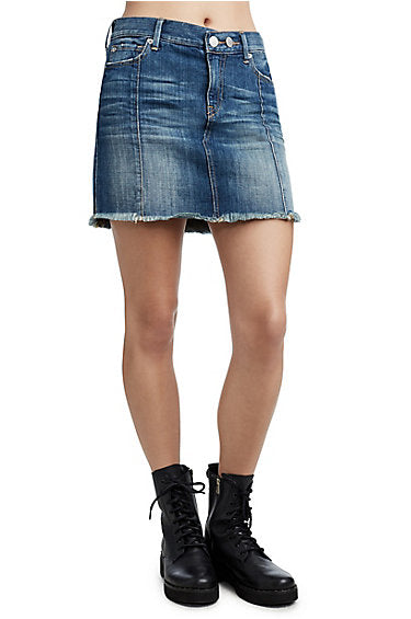 TRUE RELIGION RAW HEM DENIM SKIRT