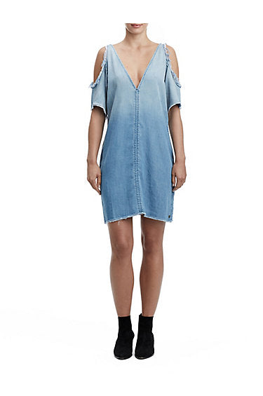 TRUE RELIGION DENIM OPEN SHOULDER DRESS