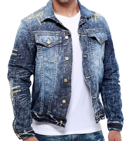ROBIN'S JEAN DENIM CHAPA JACKET IN 4 D DARK, GOLD WINGS