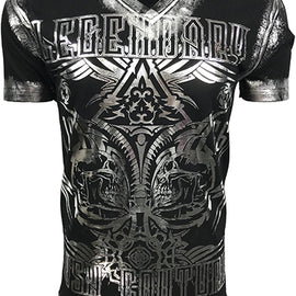RUSH COUTURE LEGENDARY SPADE MENS ROUND NECK TEE-BLACK SILVER