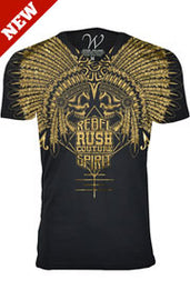 RUSH COUTURE REBEL SPIRIT FITTED V NECK TEE W 1 OF A KIND NAIL HEAD EMBELLISHMENTS-BLACK GOLD
