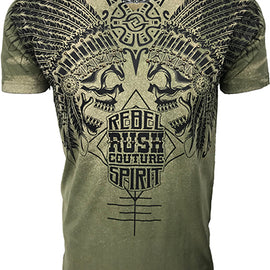 RUSH COUTURE REBEL SPIRIT FITTED V NECK TEE W 1 OF A KIND NAIL HEAD EMBELLISHMENTS-STRESS ARMY