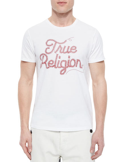 TRUE RELIGION WHITE BASEBALL STITCH TEE