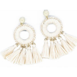 MIA STRAW TASSEL EARRING, NEUTRAL