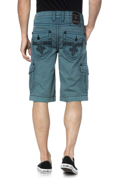 ROCK REVIVAL MENS CARGO SHORTS, TEAL GREEN