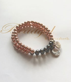 BBE SWAROVSKI PEARLS WITH DIAMANTE ROSE GOLD COLOURED HEMATITE BRACLET