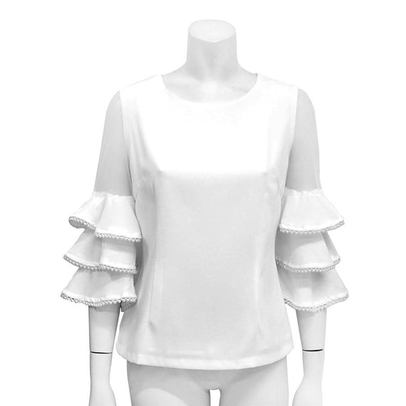 GRACIA NEW YORK MESH TIERED SLEEVE WITH PEARL TRIM BLOUSE, CREAM