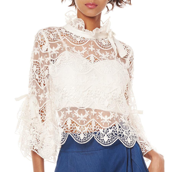 GRACIA NY RUFFLED SLEEVE LACE BLOUSE, WHITE