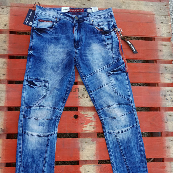 CIPO & BAXX MENS JEAN SLIM FIT WITH RED STRIPE