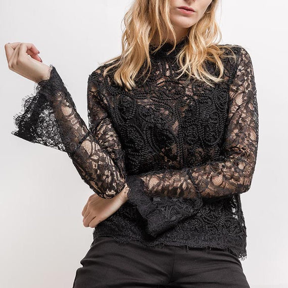 ZELIA LONG SLEEVE TRANSPARENT LACE BLOUSE, BLACK