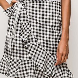 EIGHT PARIS GINGHAM WRAP SKIRT WITH FRILL DETAIL, BLACK & WHITE