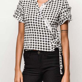EIGHT PARIS GINGHAM PRINT WRAP TOP, BLACK & WHITE