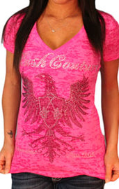 RUSH COUTURE EAGLE ROCK RHINESTONES DEEP V NECK T SHIRT, PINK