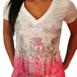 RUSH COUTURE FOREVER YOUNG 66 RHINESTONES V NECK T SHIRT, WHITE WITH PINK DIP