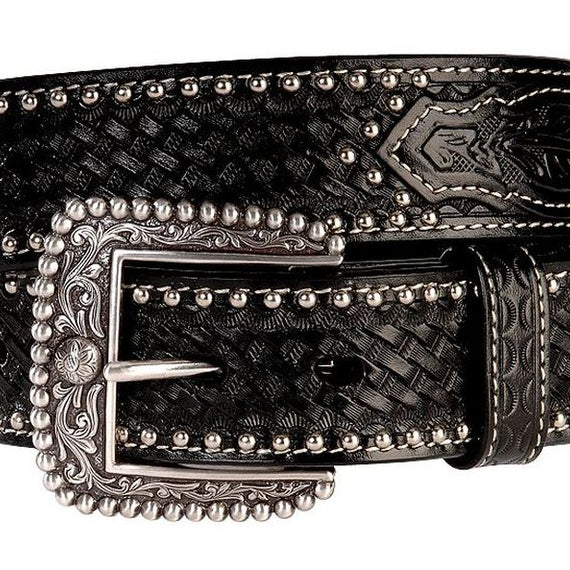 ARIAT STUDDED & EMBOSSED LEATHER BELT BLACK
