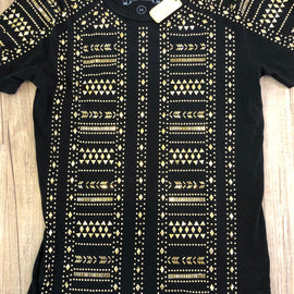 ROBIN'S JEAN CREW NECK T SHIRT TRIBAL ARMOUR EMBELISHED, BLACK WITH GOLD STUDS