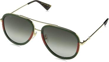 GUCCI SUNGLASSES, GOLD, GREEN, RED