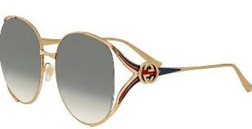 GUCCI SUNGLASSES, GOLD, RED BLUE